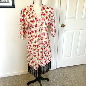 LuLaRoe Monroe Fringed Kimono Duster